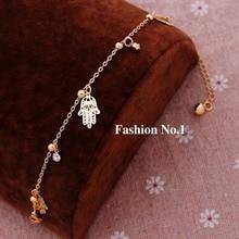 Винтажные очаровательные звенья цепи браслеты ювелирные изделия для женщин девочек модные золотые металлические подвески в форме рук браслеты и браслеты