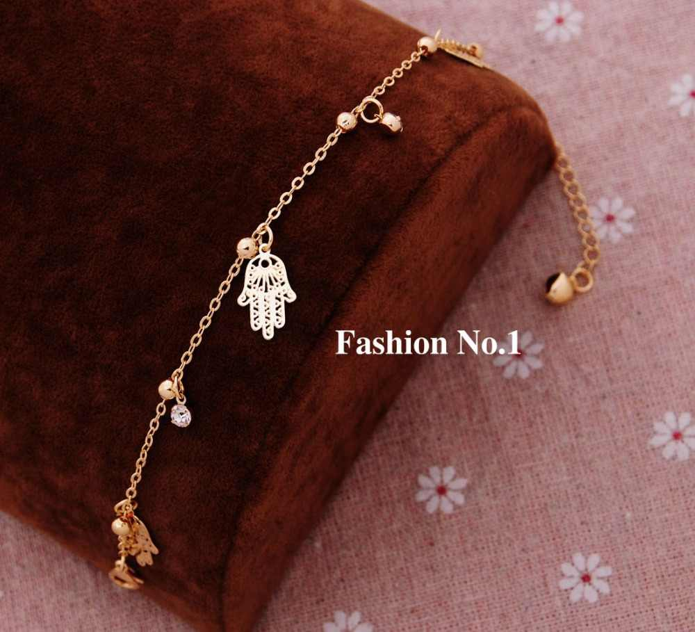 Vintage Charm Link Chain Bracelets Jewelry Women Girls' Fahion Gold-color Metal Hands Pendants Bracelets & Bangles Wholesale