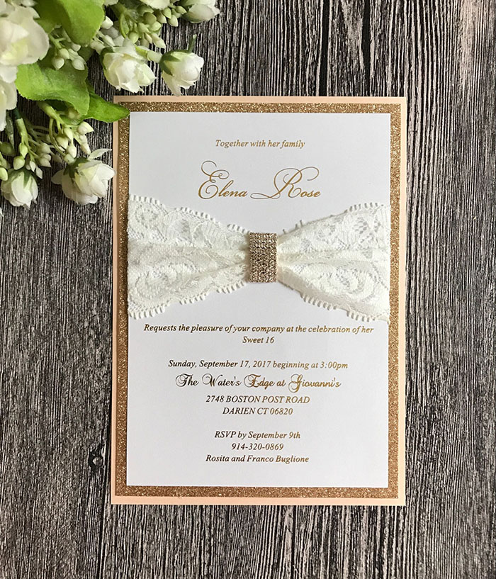 Gold Glitter Wedding Invitations With Lace And Buckle Decorations CA0764