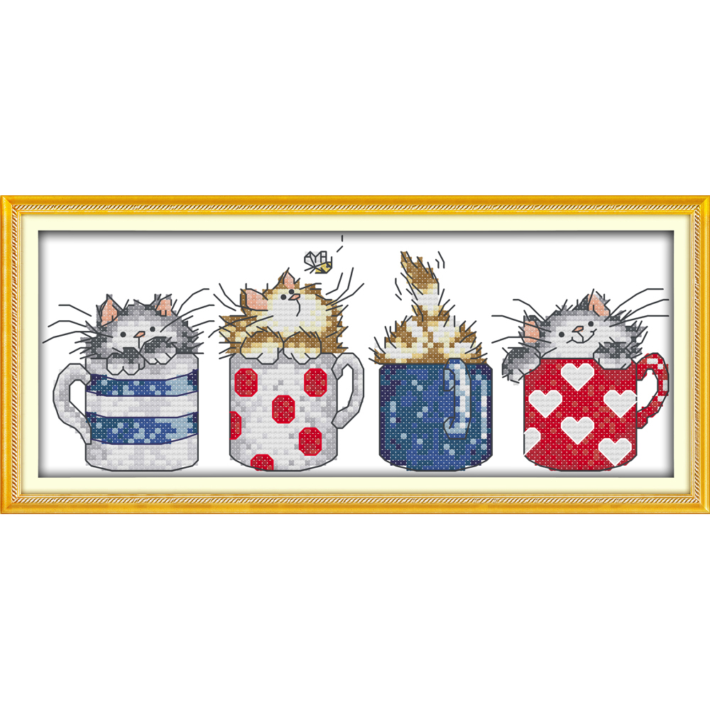 Everlasting love Christmas Cats hide in the cups Ecological cotton Chinese cross stitch kits counted stamped 11 sales promotion
