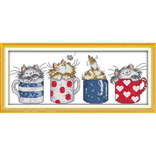 ФОТО everlasting love christmas cats hide in the cups ecological cotton chinese cross stitch kits counted stamped 11  sales promotion