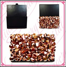 Aidocrystal Wholesale Gold New Design Fashion Rhinestone Busines Card Holder Name Card Case For Women Gifts Brushed