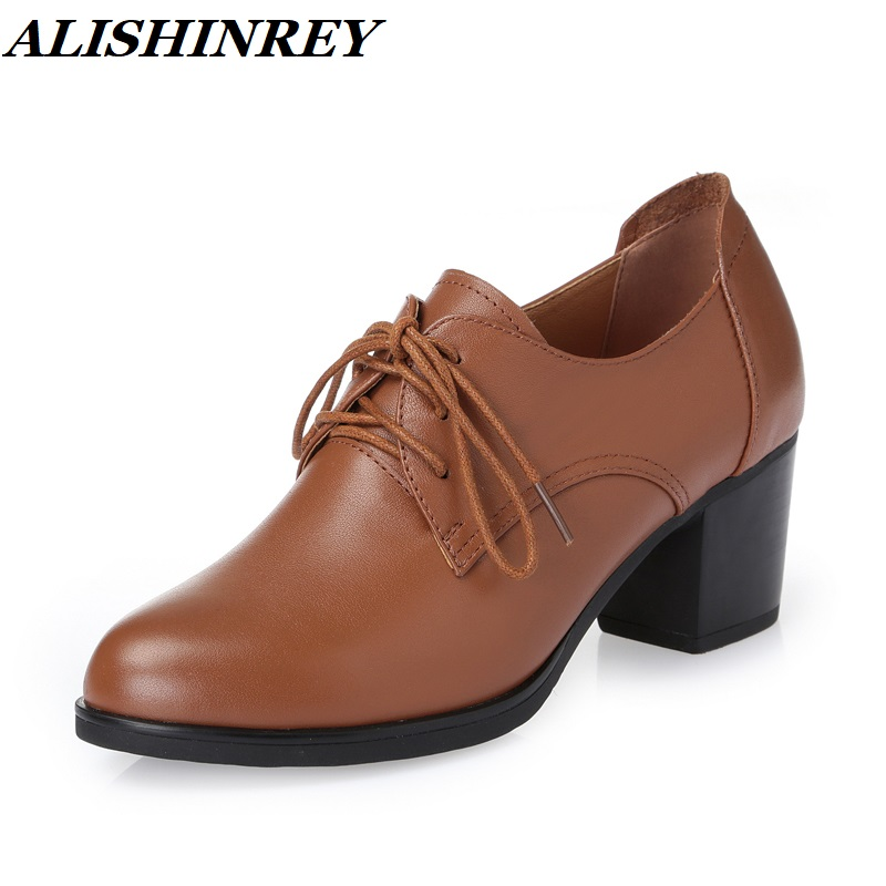 ALISHINREY New women s shoes spring Genuine Leather Thick Heel Pumps Lace up Shoes Platform High