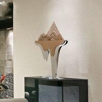 Нержавеющаясталь Hills Скульптура современный Стиль Home Decor фигурка Металлическая Статуя абстрактный для офиса украшение дома аксессуары