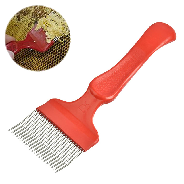 SenNan 1Pc Good Quality 21 Pin Stainless Steel Tines Comb Uncapping Fork Scratcher Apiculture Cut Honey Fork Bee Beekeeping Tool