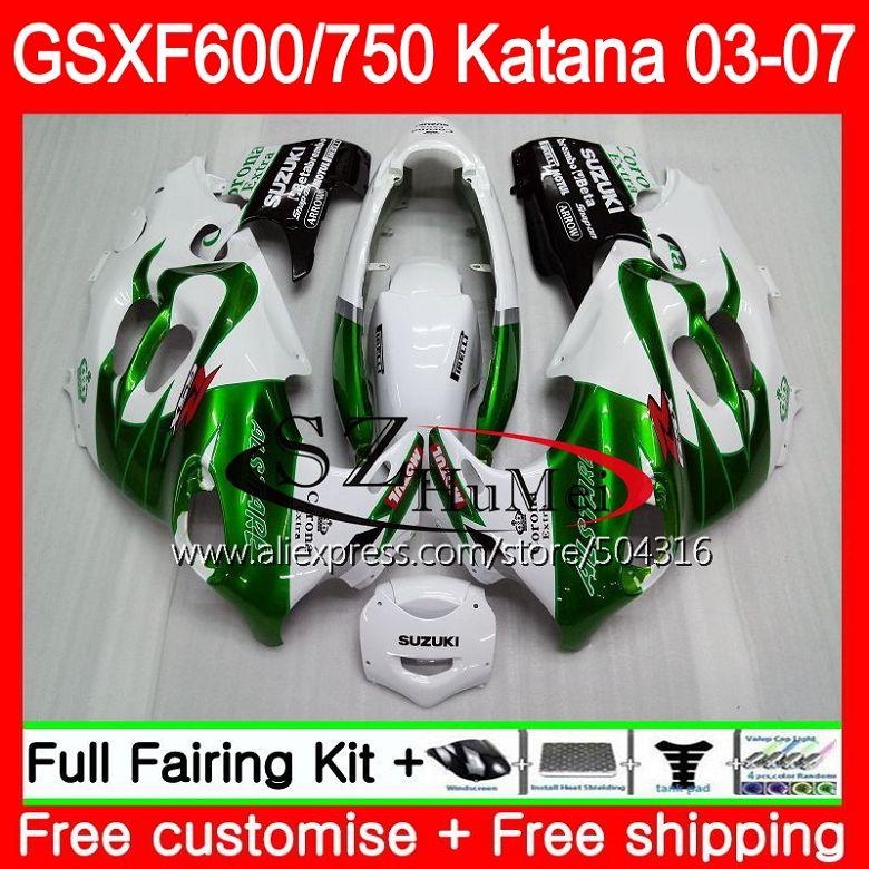 Body For SUZUKI KATANA GSX750F GSXF Green corona GSXF600 03 04 05 06 07 GSXF750 750 600 34SH1 2003 2004 2005 2006 2007 Fairings