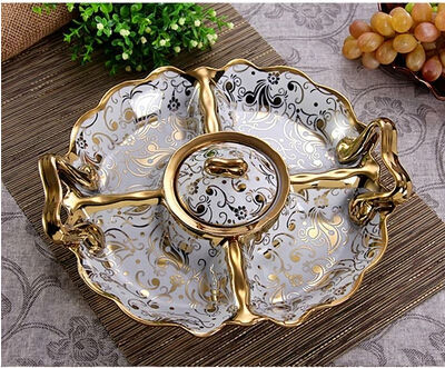 Fashion ceramic fruit plate candy tray dried fruit plate vintage fashion fruit bowl food container dinner