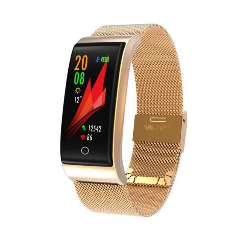 Fashion Smart Band F4 Wristband Blood Pressure Heart Rate Monitor Men Women Fitness Sport Tracker Watch Pedometer Metal Bracelet