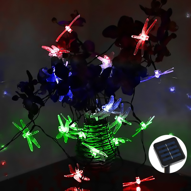 48m 30 led rgb dragonfly solar light solar led christmas lights for home and garden