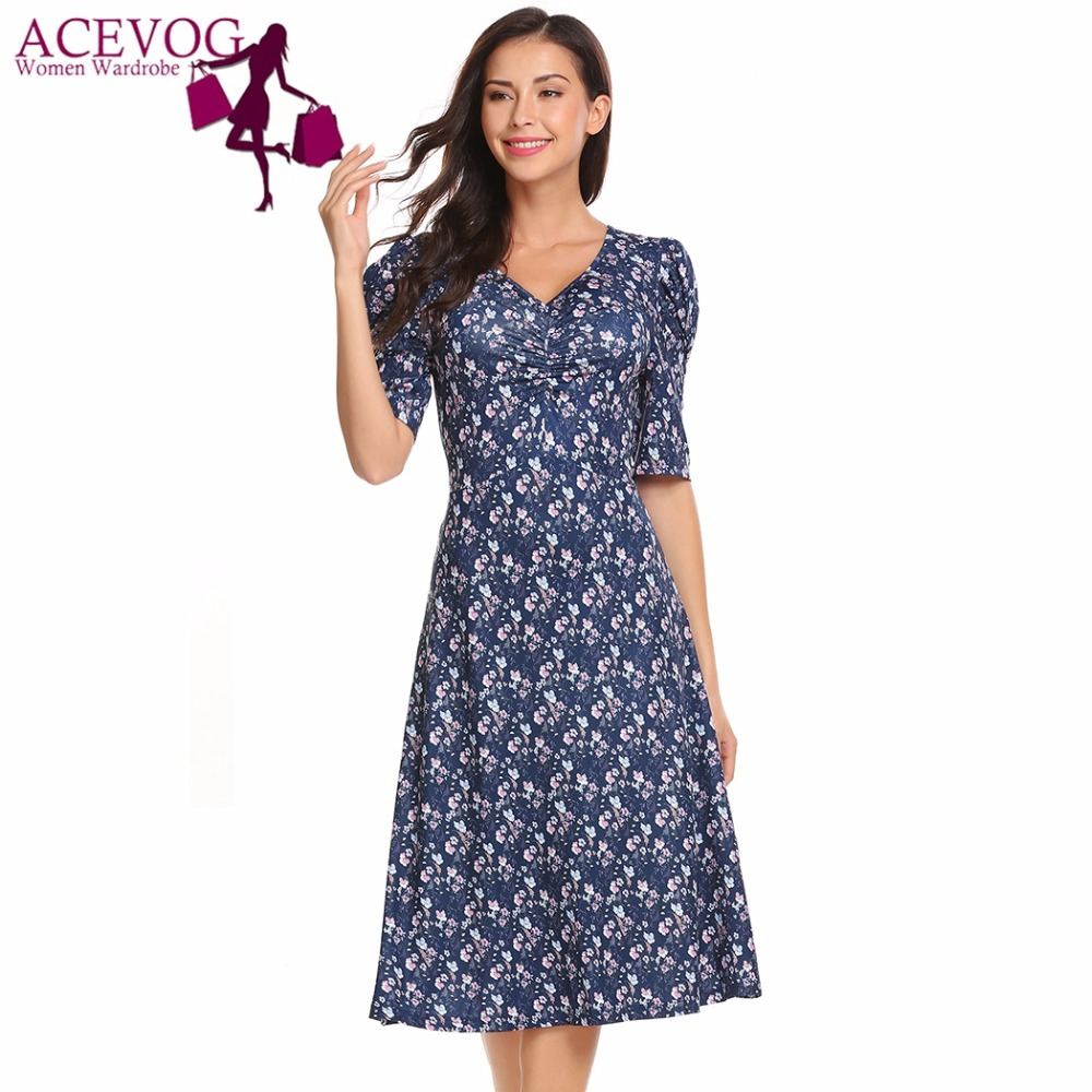 ae42d07c70c7 Online Shop ACEVOG Women Floral Vintage Dress 50S 60S V-Neck Puff Sleeve  Ruched Bust Print Midi Party Dresses Fit And Flare Vestidos Robe