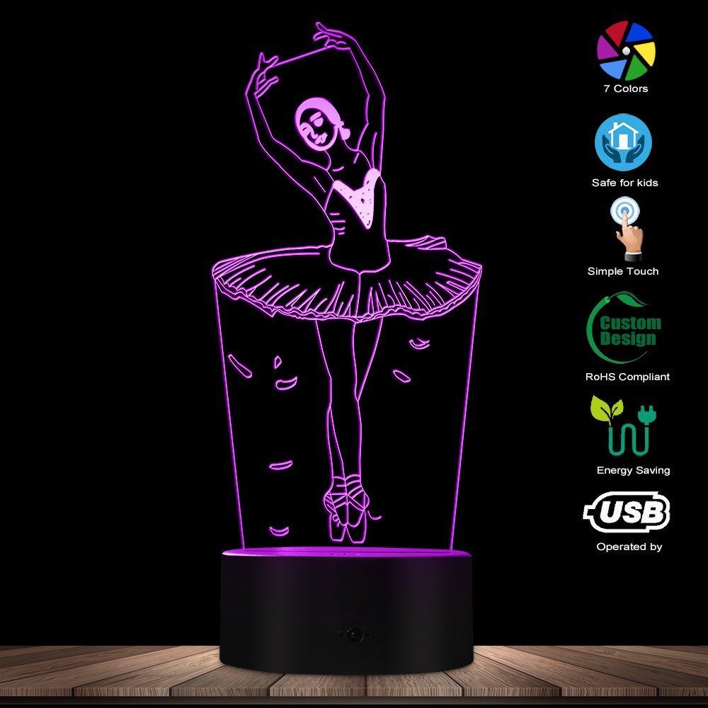 Ballerina LED Neon Lights Ballet Dancer USB Glowing Night Lamp Girls Room Decorative Table Light Ballet Lighting Gift For Her