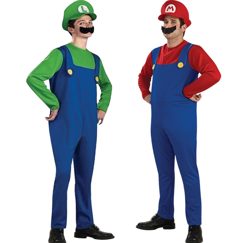Free shipping Hot Adult Halloween masquerade costume cosplay clothes M Super Mario Louis Halloween costumes adult stage