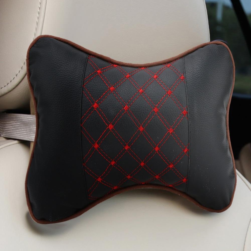 2pcs auto vratu naslon za glavu jastuci PU koža jastuk podršku dugo - Dodaci za unutrašnjost automobila