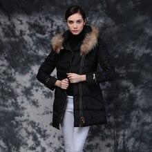Европа 2016 зима плюс размер одежды белая утка вниз куртки верхняя одежда средней длины с капюшоном пальто большой меховой воротник ветровки