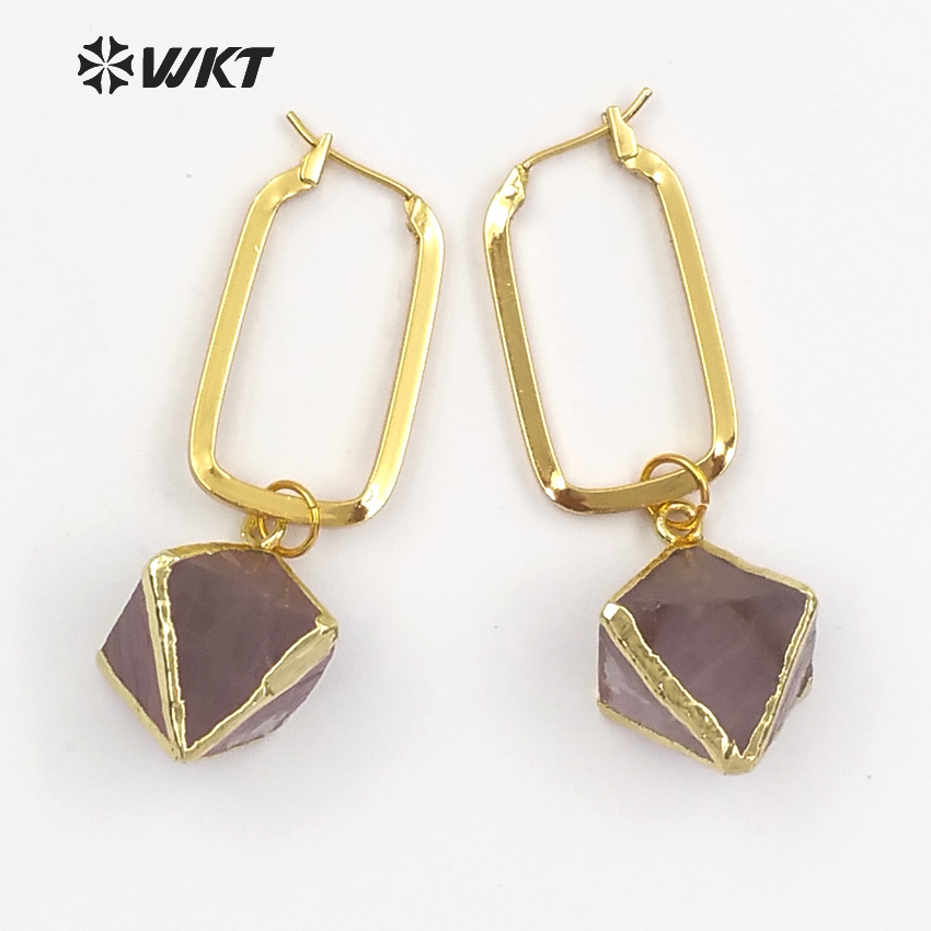 WT E450 Heal Stone Dice Shape Rainbow Fluorite With Gold Dipped Rectangle Metal Hoop Inlay Earring
