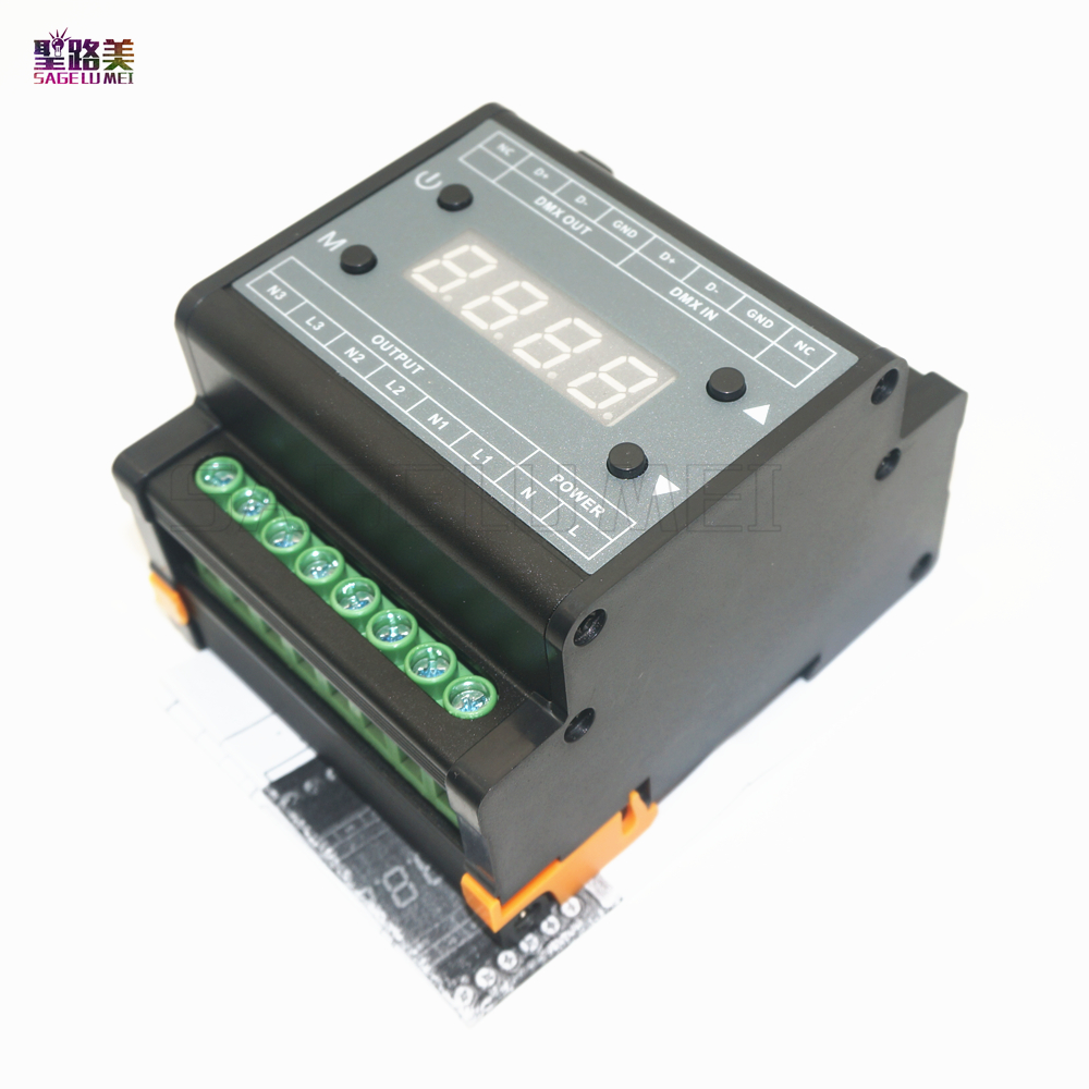 DMX302 DMX triac dimmer led brightness controller AC90V-240V 50Hz/60Hz Output high voltage 3channels 1A/CH for led panel light tp760 765 hz d7 0 1221a