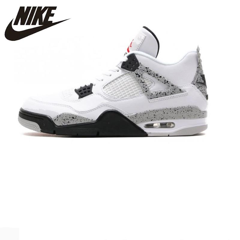 d383a28884f Nike Air Jordan 4 Boys Basketball Shoes Jordan 4 White Cement, Original Men's  Sports Shoes