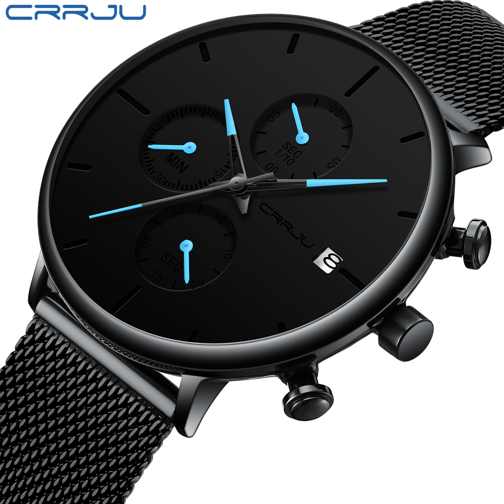 CRRJU Fashion Watch Clock Strap Mesh Quartz Minimalist Slim Waterproof for Men Sports