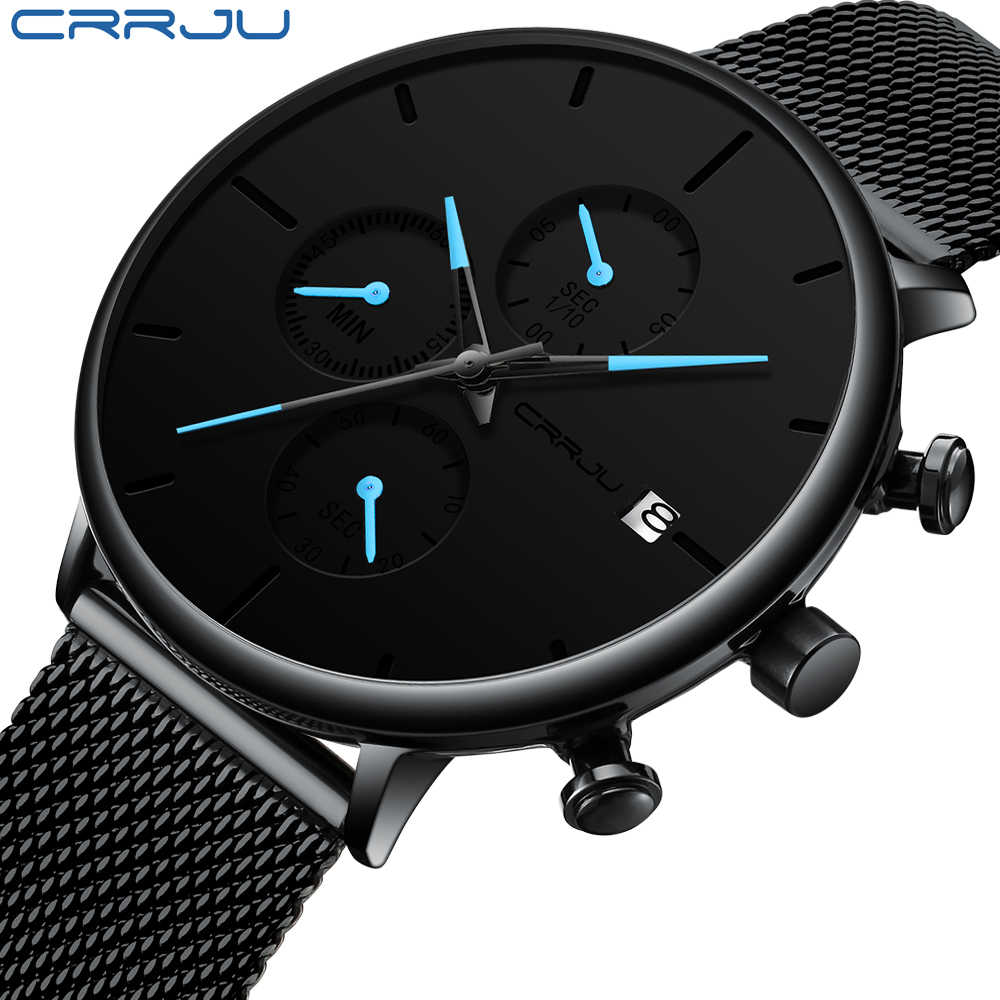 CRRJU Fashion Watch Men Waterproof Slim Mesh Strap Minimalist Wrist Watches For Men Quartz Sports Watch Clock Relogio Masculino