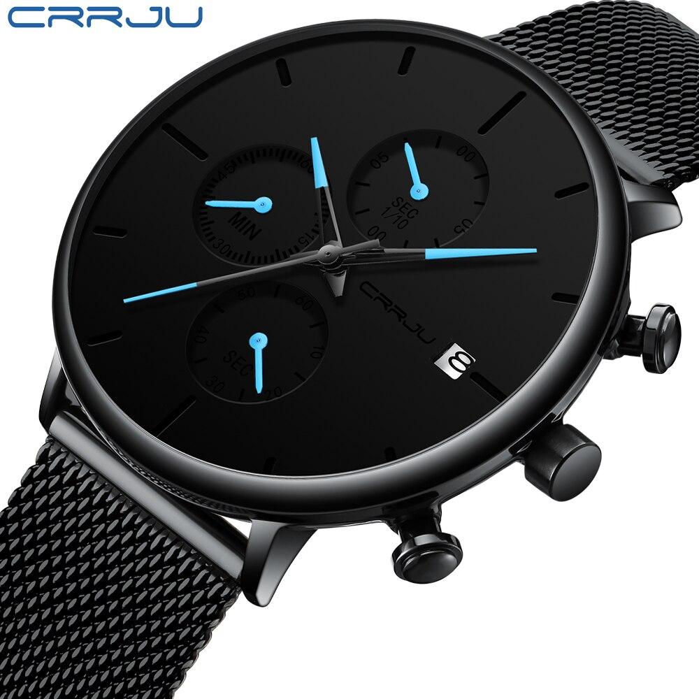 CRJU Moda Homens Relógio À Prova D' Água Cinta de Malha Fino Minimalista Relógios Para Homens Quartz Sports Watch Relógio de Pulso Relogio masculino