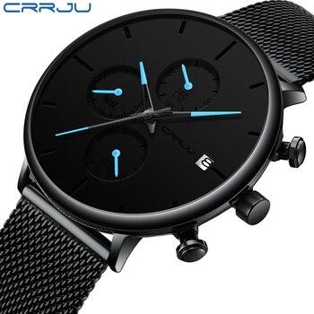 Reloj de pulsera minimalista CRRJU de malla fina resistente al agua para hombre, reloj deportivo de cuarzo