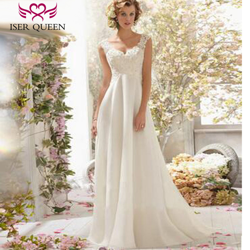 Fashion Beach Wedding Dresses Empire Pregnant Wedding Dress Backless With Wrap Plus Size Court Train Chiffon Bridal Dress W0125-in Wedding Dresses from Weddings & Events    1