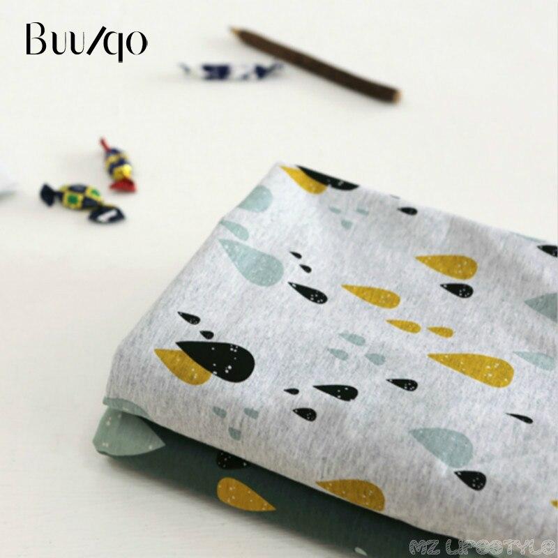 Buulqo baumwolle gestrickte stoff dehnbar Gedruckt regentropfen gestrickte jersey stoff durch halben meter DIY baby kleidung stoff 50x180 cm