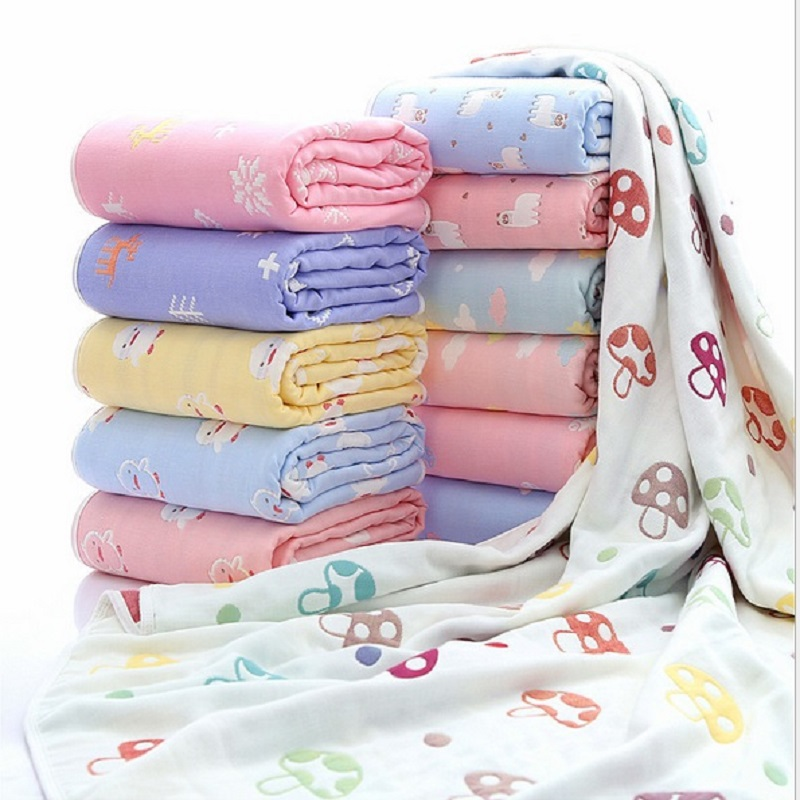Children Cotton Bath Towel Newborn Muslin Super Soft Baby Blanket Swaddling Kids Infant Bath Shower Towel Wrap 60*80cm Baby Wrap