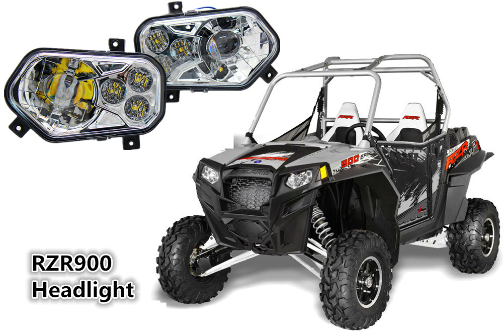 ATV UTV  RZR900 Pair Projector LED Headlight Headlamp Kit for 2012 - 2013 Polaris Ranger Side X Sides 2012 - 2013 Sportsman voltage regulator rectifier for polaris rzr xp 900 le efi 4013904 atv utv motorcycle styling