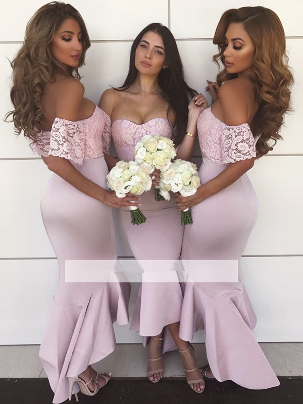 Hi Low 2019 Cheap   Bridesmaid     Dresses   Under 50 Mermaid Off The Shoulder Lace Long Wedding Party   Dresses   For Women
