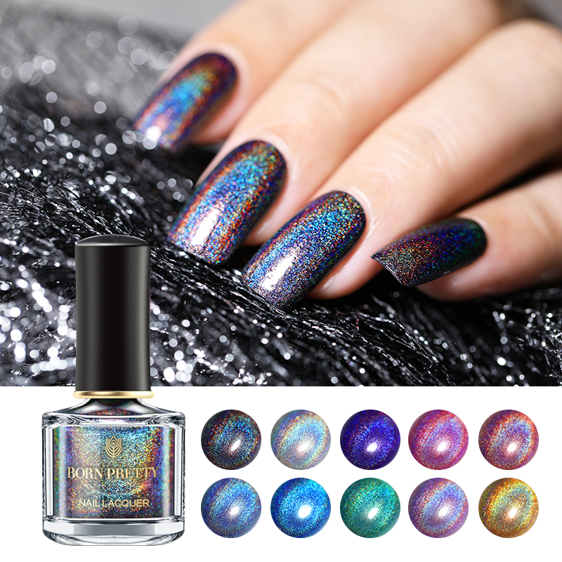 BORN PRETTY 6ml Holographic Nail Polish Deluxe Holo Laser Glitter Nail Art Lacquer Varnish Polish Long-Lasting Nail Color