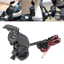 Motorcycle Car Charger Black 12V Dual USB Faucet Phone Mobile phone Charing adapter for Motorbike