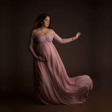 Le Couple Dusty Pink Pregnant Photo Lace Dress Maternity Photography Props Long Dress Full Sleeve Pregnancy Dress Maxi Gown