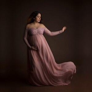 Image 1 - Кружевное платье для беременных Le Couple, длинное платье розового цвета с длинным рукавом для беременных