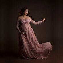 Le Vài Dusty Hồng Mang Thai Ảnh Ren Váy Thai Sản Nhiếp Ảnh Đạo Cụ Dài Ăn Mặc Đầy Đủ Tay Áo Mang Thai Dress Maxi Gown