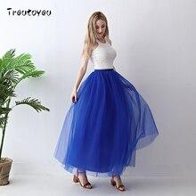 Treutoyeu 5 레이어 맥시 롱 여성 스커트 Tulle Skirts 들러리 웨딩 스커트 무료 사이즈 Faldas Saias Femininas Jupe