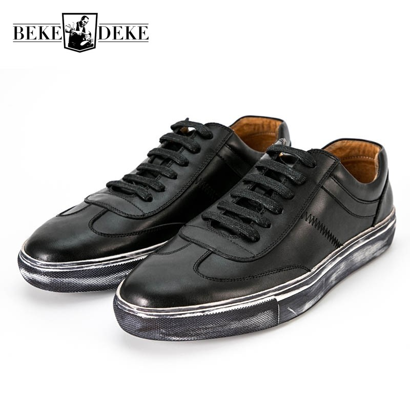 2018 Classic Korean Lace Up Casual Shoes For Men Brand Real Cow Leather Flats Pumps Preppy Boys Street Footwear Breathable Shoes