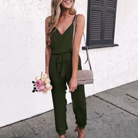 Women Jumpsuit Ladies Holiday Summer Sexy Sleeveless Romper Belt One Piece Long Strappy Casual Playsuit V Neck