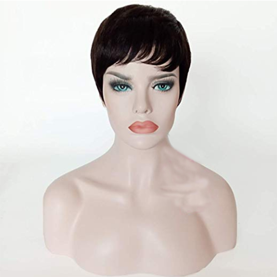 Remy Brazilian Short Human Hair Wigs Black Color Natural Looking 150 Density Women Short Cut Wig