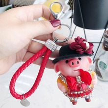 Crystal Cute cartoon pig Keyrings 3D Key Chain Hand-painted Craft Car Keychain Holder Pendant Women Bag Accessoriess