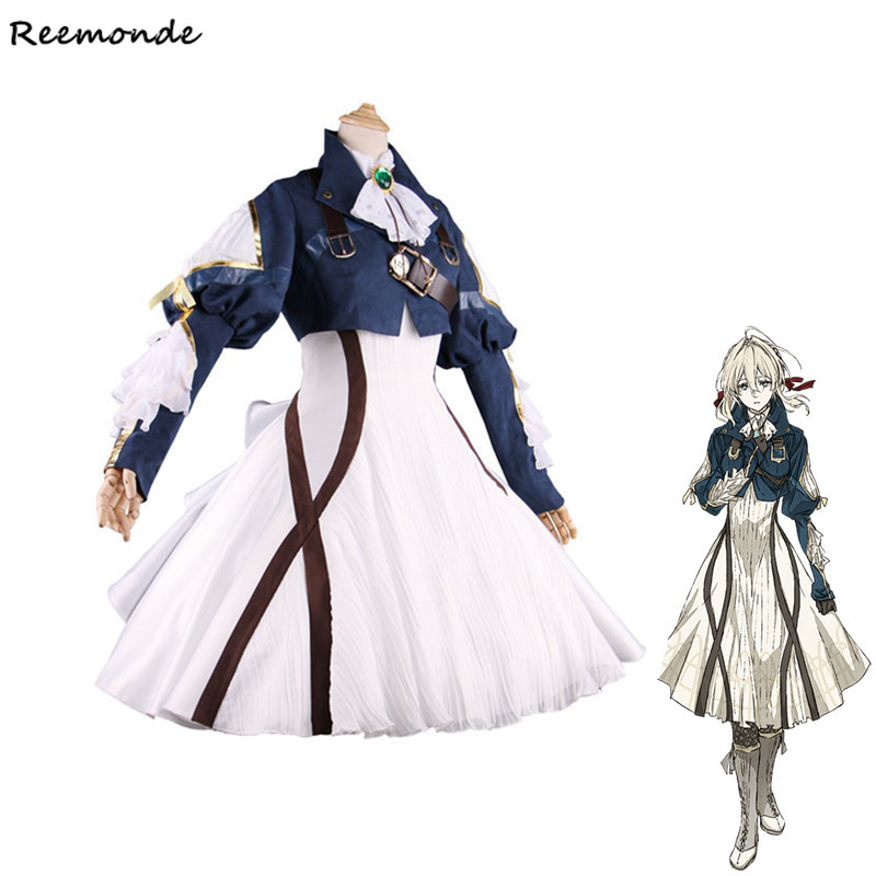 Anime Violet Evergarden Cosplay Costume Veil Little Dresses Full Set Blonde Synthetic Wigs Hair For Adult Woman Girls Clothes