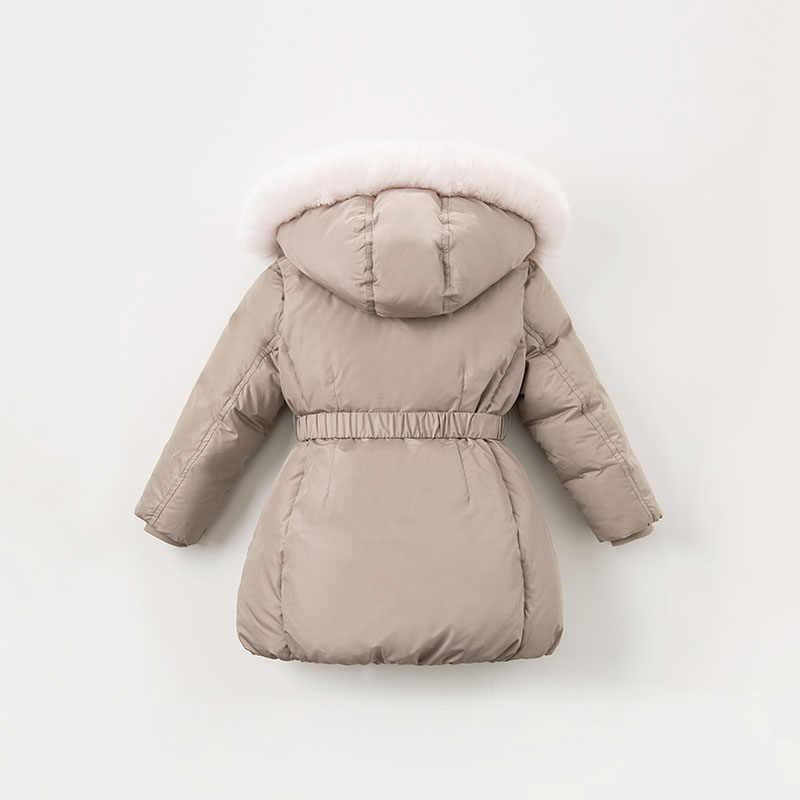DBK8312 dave bella/Зимний пуховик для маленьких девочек 90% детское пуховое Стеганое пальто Детская верхняя одежда с капюшоном и большим мехом