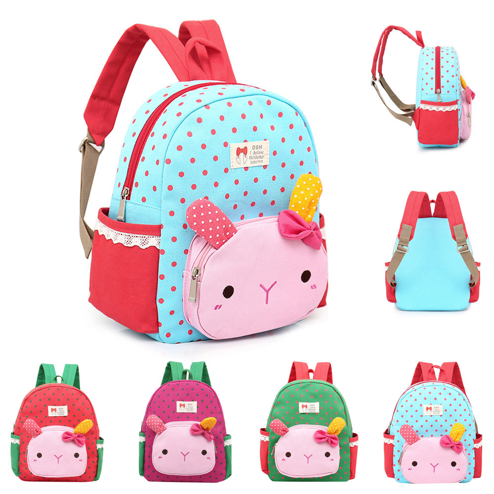 anti-theft backpack Children Baby Girls Boys Kids Cartoon Rabbit Animal Backpack Toddler School Bag Preppy Style Soft  Teenage
