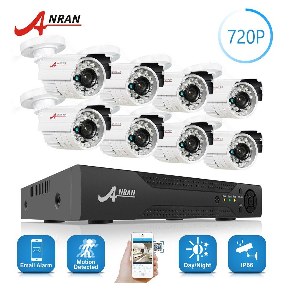 ANRAN 8CH 1800N HD AHD DVR Kit 8 pcs 1800TVL 720 p Étanche Extérieur 24 IR Jour Nuit Vidéo CCTV caméra de Sécurité À Domicile Système