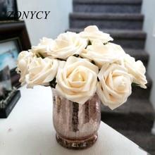 10 têtes 8CM maison décorative artificielle Rose fleurs mariage mariée Bouquet bricolage PE mousse fleur pour la maison saint valentin décoration
