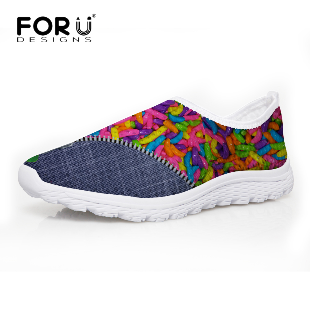 FORUDESIGNS Summer Mesh Shoes Woman 2017 Fashion Breathable Casual Candy Pattern Women Flats Shoes Ladies Lazy Shoes Mujer Girls forudesigns women casual sneaker cartoon cute nurse printed flats fashion women s summer comfortable breathable girls flat shoes