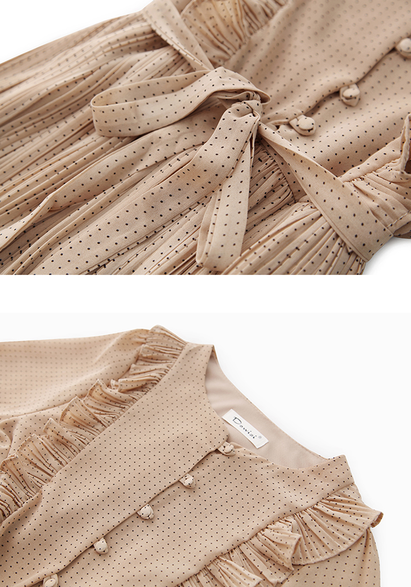 BGTEEVER Vintage O-neck Ruffles Chiffon Women Dress Flare Sleeve Polka Dot Lace Up Female Dress Two Layers Pleated Vestidos 31