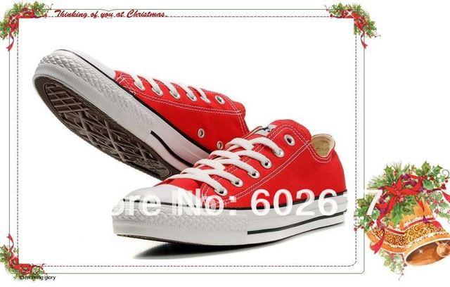 Wholesale Red Plimsolls Cloth Shoes Canvas Shoes Low Style Men's/Women's Duck Shoes Mixed Order