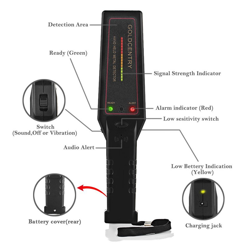 Super Security Scanner, Hand Held Metal Detectors with 16 LED Metal Indicator lights and Adjustable Sensitivity