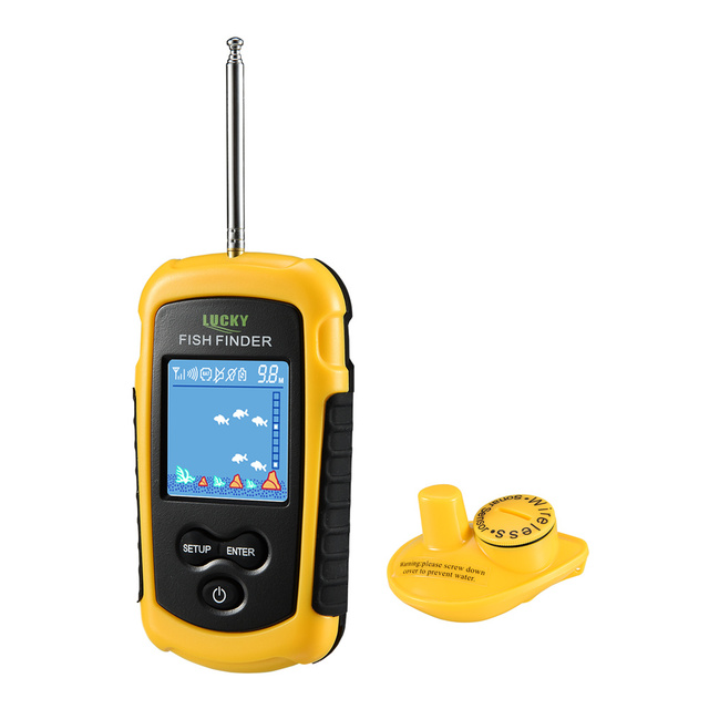 Best Offers Sonar Fish Finder Lucky ffcw1108-1 Wireless Sonar Fishing Alarm Lure Echo FindFish Deeper FishFinder for Fishing Russian Finder